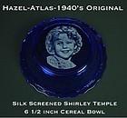 Hazel Atlas Cobalt 1940s Shirley Temple Cereal Bowl