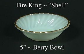"Fire King White ""Shell"" 5 inch Berry Bowl-Gold Trim"