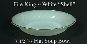 "Fire King White ""Shell"" 7 1/2 inch Flat Soup-Gold Trim"