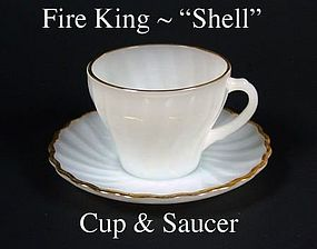 "Fire King White ""Shell"" Cup and Saucer-Gold Trim"