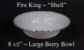 "Fire King White ""Shell"" 8 1/2 inch Lg Berry-Gold Trim"