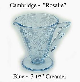 "Cambridge Moonlight Blue ""Rosalie"" 3 1/2 inch Creamer"