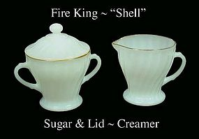 "Fire King White ""Shell"" Creamer Sugar & Lid Gold Trim"