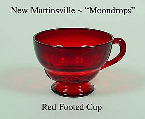 New Martinsville Moondrops Red Footed Cup