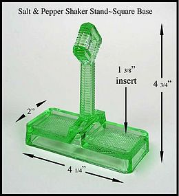 Green Depression Handled SALT & PEPPER Caddy-Square Bas