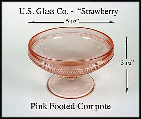 U.S. Glass Strawberry Pink Footed Comport