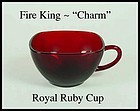 Fire King Charm Royal Ruby Square Cup Only
