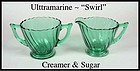 Jeannette Ultramarine Swirl Creamer and Sugar Set