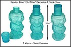 """Vintage Blue Frosted """"Old Man"""" Decanter & Shot Glass"""