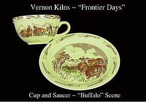 Vernon Kiln's 1954 Frontier Days Cup and Saucer Buffalo