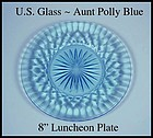 U.S. Glass Aunt Polly Blue 8 inch Luncheon Plate