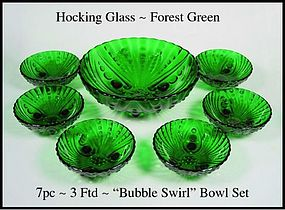 Fire King Hocking Forest Green 7pc Footed Bowl Set
