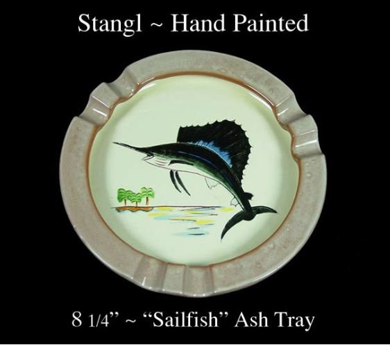 """Stangl Hand Painted 8 1/4"""" """"Sailfish"""" Ash Tray-Signed!"""