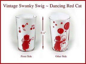 Vintage Peanut Butter Swanky Swig Glass Cats Dancing
