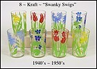 1940s Swanky Swig Tumblers - 8 Pc Set w/Flowers