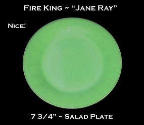 "Fire King Jadeite ""Jane Ray"" 7 3/4"" Salad Plate"
