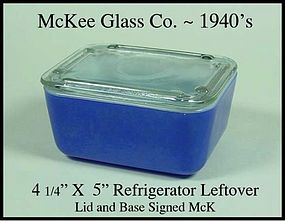 McKee Glass Co~1940's F/On Blue Refrigerator Leftover