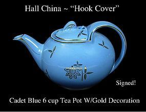 Hall China Cadet Blue with Gold 6 cup Hook Cover T-Pot