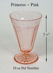 Hocking ~ Princess Pink 10 oz Footed Tumbler ~ 1930's