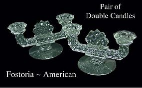 Fostoria American Pair of Double Candleholders