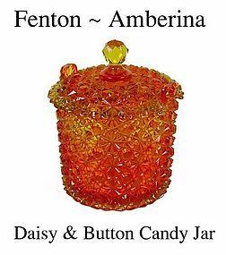 Fenton Art Glass ~ Amberina Daisy and Button Candy Jar