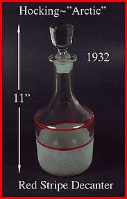 Hocking ~ 1932 ~ Arctic 2pc Red Stripe Decanter