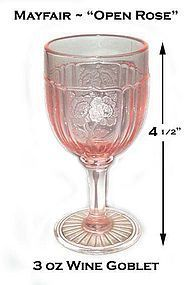 Hocking Glass ~ Pink Mayfair ~ 3oz Wine Goblet ~ Mint!