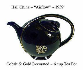 Hall China Cobalt and Gold 6 cup Air Flow Tea Pot