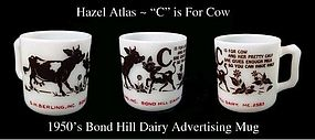 Hazel Atlas C is for Cow Advertising Alphabet Mug