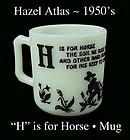 Hazel Atlas H is for Horse Alphabet Mug-1950s