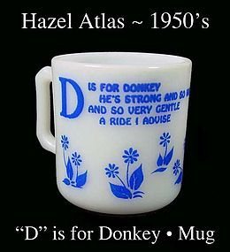Hazel Atlas  D is for Donkey Alphabet Mug-1950s