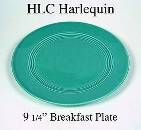 "HLC Harlequin Original Turquoise Color 9"" Dinner Plate"