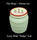 Fire King Ivory Ribbed Grease Jar ~ Never Used ~ NOS