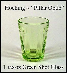 Hocking Pillar Optic Green 1 1/2 oz Shot Glass