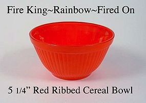 Fire King Fired On Rainbow Primary Color Ribbed Bowl