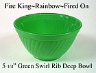 Fire King Rainbow Primary Color Green Swirl Ribbed Bowl