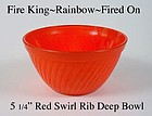 Fire King Rainbow Primary Color Red Swirl Rib Bowl