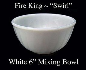 "Fire King White ""Swirl"" 6 inch Mixing Bowl Signed"
