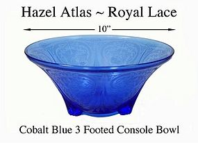 Hazel Atlas Blue Royal Lace 10 inch Console Bowl
