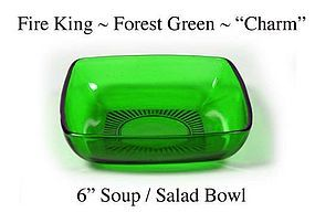 Fire King Forest Green Charm 6 inch Soup Salad Bowl