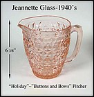 "Jeannette Glass ~ Holiday ""Buttons and Bows"" Pitcher"