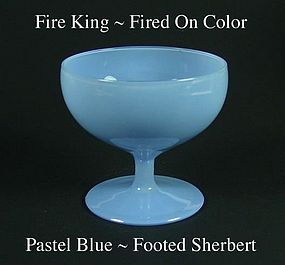 Fire King Fired On Color ~ Pastel Blue Footed Sherbert