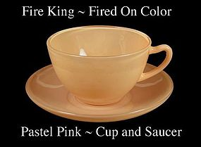 Fire King Fired On Color ~ Pastel Pink Cup & Saucer