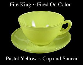 Fire King Fired On Color ~ Pastel Yellow Cup & Saucer