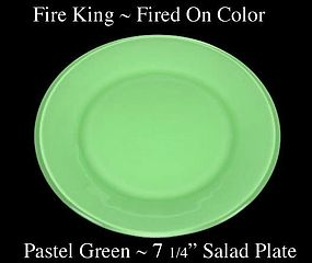 Fire King Fired On Color ~ Pastel Green Salad Plate