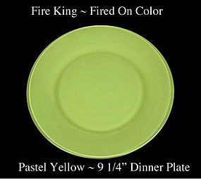 Fire King Fired On Color ~ Pastel Yellow Dinner Plate