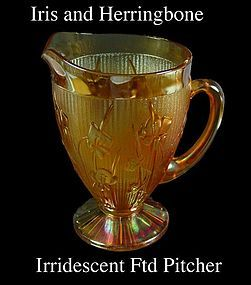 Jeannette Glass Iris & Herringbone Marigold Ftd Pitcher
