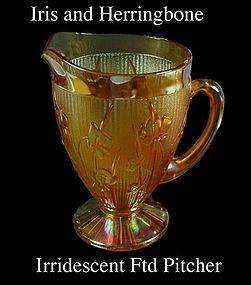 Jeannette Glass Iris & Herringbone Marigold Ftd Pitcher