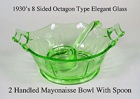1930s Green Elegant Octogon 2 Handled Mayo Set W/Spoon