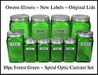 "Owens-Illinois DkGreen ""Ruff & Ready"" 10pc Canister Set"